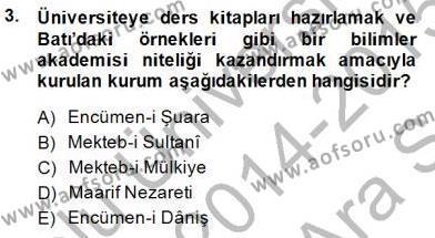 Türk Dili ve Edebiyatı Bölümü 1. Yarıyıl Yeni Türk Edebiyatına Giriş I Dersi 2015 Yılı Güz Dönemi Ara Sınavı 3. Soru
