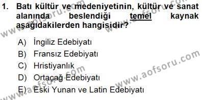 Yeni Türk Edebiyatına Giriş 1 Dersi 2015 - 2016 Yılı (Vize) Ara Sınav Soruları 1. Soru