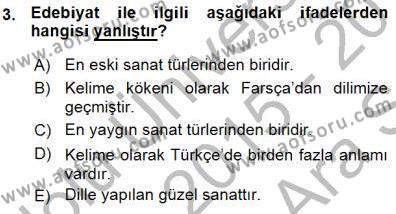 Yeni Türk Edebiyatına Giriş 1 Dersi 2015 - 2016 Yılı (Vize) Ara Sınav Soruları 3. Soru
