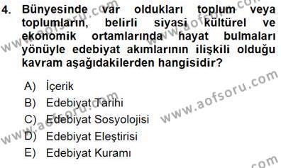 Yeni Türk Edebiyatına Giriş 1 Dersi 2015 - 2016 Yılı (Vize) Ara Sınav Soruları 4. Soru