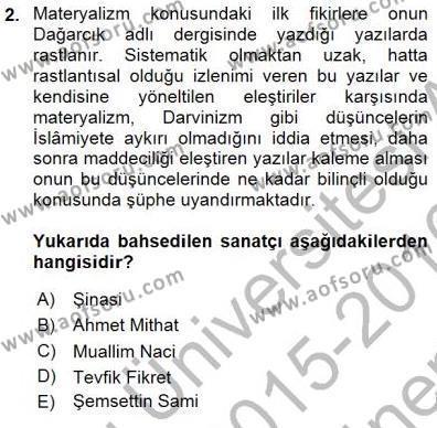Yeni Türk Edebiyatına Giriş 1 Dersi 2015 - 2016 Yılı (Final) Dönem Sonu Sınav Soruları 2. Soru