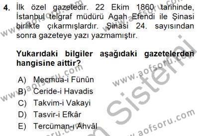 Yeni Türk Edebiyatına Giriş 1 Dersi 2015 - 2016 Yılı (Final) Dönem Sonu Sınav Soruları 4. Soru