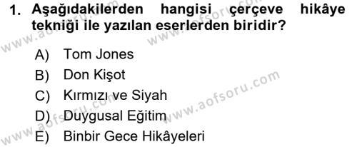 Yeni Türk Edebiyatına Giriş 1 Dersi 2017 - 2018 Yılı (Vize) Ara Sınav Soruları 1. Soru