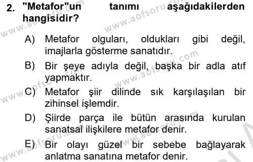 Yeni Türk Edebiyatına Giriş 1 Dersi 2017 - 2018 Yılı (Vize) Ara Sınav Soruları 2. Soru