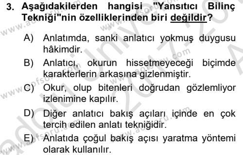 Yeni Türk Edebiyatına Giriş 1 Dersi 2017 - 2018 Yılı (Vize) Ara Sınav Soruları 3. Soru