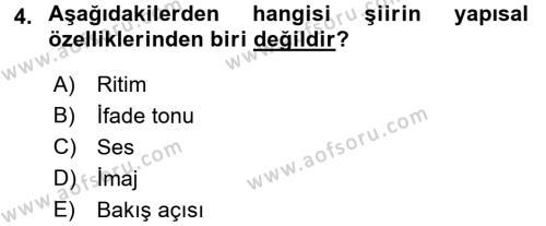 Yeni Türk Edebiyatına Giriş 1 Dersi 2017 - 2018 Yılı (Vize) Ara Sınav Soruları 4. Soru