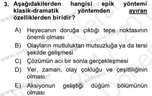 Yeni Türk Edebiyatına Giriş 1 Dersi 2017 - 2018 Yılı (Final) Dönem Sonu Sınav Soruları 3. Soru