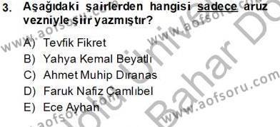 Yeni Türk Edebiyatına Giriş 2 Dersi 2013 - 2014 Yılı (Final) Dönem Sonu Sınav Soruları 3. Soru