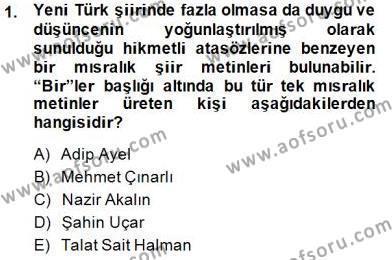 Yeni Türk Edebiyatına Giriş 2 Dersi 2014 - 2015 Yılı (Vize) Ara Sınav Soruları 1. Soru