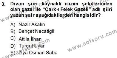 Yeni Türk Edebiyatına Giriş 2 Dersi 2014 - 2015 Yılı (Vize) Ara Sınav Soruları 3. Soru