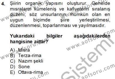 Yeni Türk Edebiyatına Giriş 2 Dersi 2014 - 2015 Yılı (Vize) Ara Sınav Soruları 4. Soru