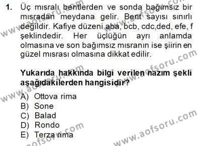Yeni Türk Edebiyatına Giriş 2 Dersi 2014 - 2015 Yılı Dönem Sonu Sınavı 1. Soru