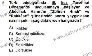 Türk Dili ve Edebiyatı Bölümü 2. Yarıyıl Yeni Türk Edebiyatına Giriş II Dersi 2015 Yılı Bahar Dönemi Dönem Sonu Sınavı 2. Soru