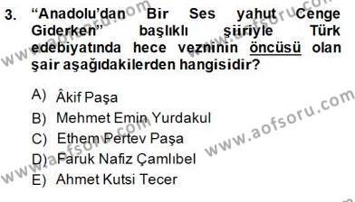 Yeni Türk Edebiyatına Giriş 2 Dersi 2014 - 2015 Yılı Dönem Sonu Sınavı 3. Soru