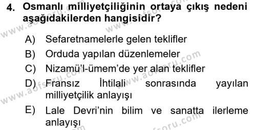 Yeni Türk Edebiyatına Giriş 2 Dersi 2017 - 2018 Yılı (Vize) Ara Sınav Soruları 4. Soru