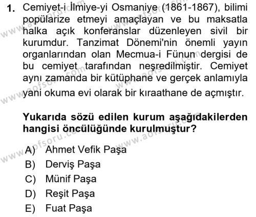Yeni Türk Edebiyatına Giriş 2 Dersi 2018 - 2019 Yılı (Vize) Ara Sınav Soruları 1. Soru