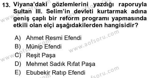 Yeni Türk Edebiyatına Giriş 2 Dersi Ara Sınavı Deneme Sınav Soruları 13. Soru