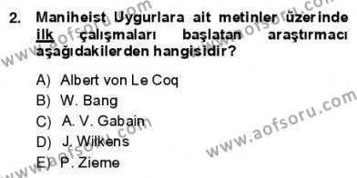 VIII-XIII. Yüzyıllar Türk Edebiyatı Dersi 2012 - 2013 Yılı Ara Sınavı 2. Soru