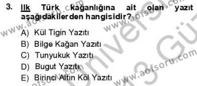 VIII-XIII. Yüzyıllar Türk Edebiyatı Dersi 2012 - 2013 Yılı Ara Sınavı 3. Soru