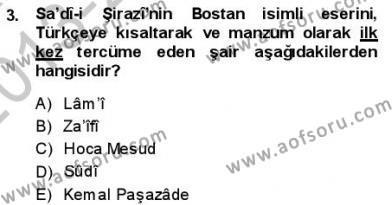 VIII-XIII. Yüzyıllar Türk Edebiyatı Dersi 2013 - 2014 Yılı (Final) Dönem Sonu Sınav Soruları 3. Soru