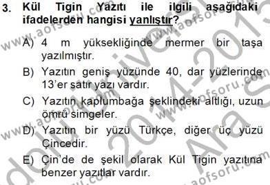 VIII-XIII. Yüzyıllar Türk Edebiyatı Dersi 2014 - 2015 Yılı (Vize) Ara Sınav Soruları 3. Soru