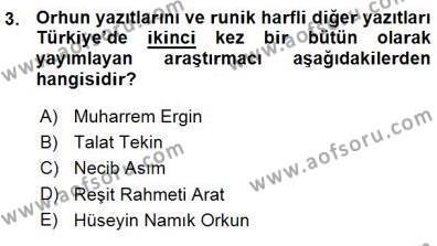 VIII-XIII. Yüzyıllar Türk Edebiyatı Dersi 2015 - 2016 Yılı (Vize) Ara Sınav Soruları 3. Soru