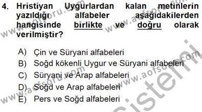 VIII-XIII. Yüzyıllar Türk Edebiyatı Dersi 2015 - 2016 Yılı (Vize) Ara Sınav Soruları 4. Soru