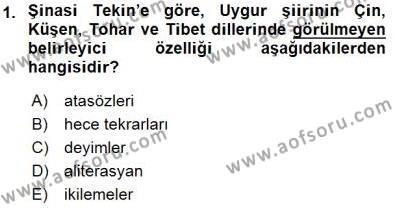 VIII-XIII. Yüzyıllar Türk Edebiyatı Dersi 2015 - 2016 Yılı (Final) Dönem Sonu Sınav Soruları 1. Soru