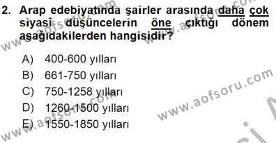 VIII-XIII. Yüzyıllar Türk Edebiyatı Dersi 2015 - 2016 Yılı (Final) Dönem Sonu Sınav Soruları 2. Soru