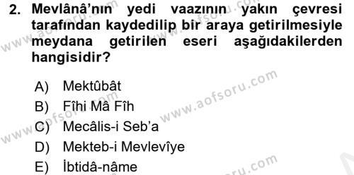 VIII-XIII. Yüzyıllar Türk Edebiyatı Dersi 2017 - 2018 Yılı (Final) Dönem Sonu Sınav Soruları 2. Soru
