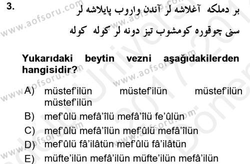 VIII-XIII. Yüzyıllar Türk Edebiyatı Dersi 2017 - 2018 Yılı (Final) Dönem Sonu Sınav Soruları 3. Soru