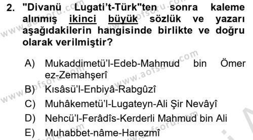 VIII-XIII. Yüzyıllar Türk Edebiyatı Dersi 2018 - 2019 Yılı 3 Ders Sınav Soruları 2. Soru