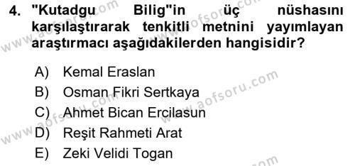 VIII-XIII. Yüzyıllar Türk Edebiyatı Dersi 2018 - 2019 Yılı 3 Ders Sınav Soruları 4. Soru