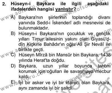 XIV-XV. Yüzyıllar Türk Edebiyatı Dersi 2012 - 2013 Yılı (Vize) Ara Sınav Soruları 2. Soru
