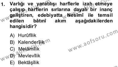 XIV-XV. Yüzyıllar Türk Edebiyatı Dersi 2013 - 2014 Yılı Ara Sınavı 1. Soru