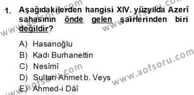XIV-XV. Yüzyıllar Türk Edebiyatı Dersi 2013 - 2014 Yılı (Final) Dönem Sonu Sınav Soruları 1. Soru