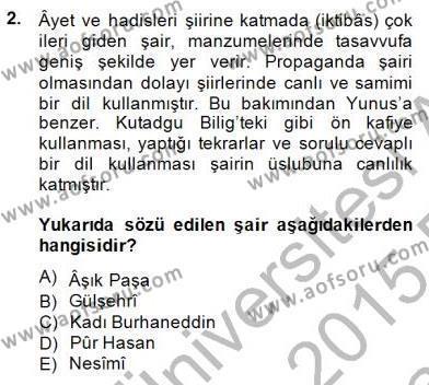 XIV-XV. Yüzyıllar Türk Edebiyatı Dersi 2014 - 2015 Yılı (Vize) Ara Sınav Soruları 2. Soru