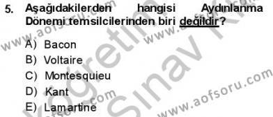 Türk Dili ve Edebiyatı Bölümü 3. Yarıyıl Tanzimat Dönemi Türk Edebiyatı I Dersi 2014 Yılı Güz Dönemi Ara Sınavı 5. Soru