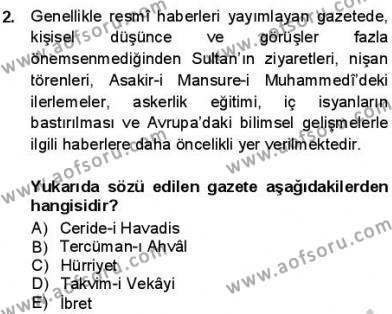 Tanzimat Dönemi Türk Edebiyatı 1 Dersi 2013 - 2014 Yılı Dönem Sonu Sınavı 2. Soru