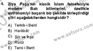 Tanzimat Dönemi Türk Edebiyatı 1 Dersi 2013 - 2014 Yılı Dönem Sonu Sınavı 4. Soru