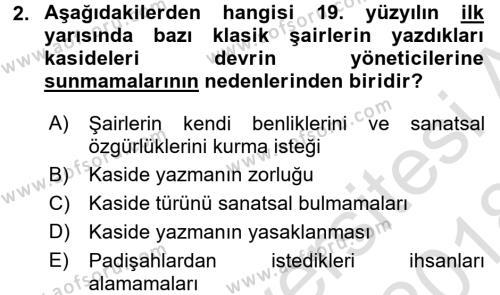 Tanzimat Dönemi Türk Edebiyatı 1 Dersi 2017 - 2018 Yılı (Vize) Ara Sınav Soruları 2. Soru