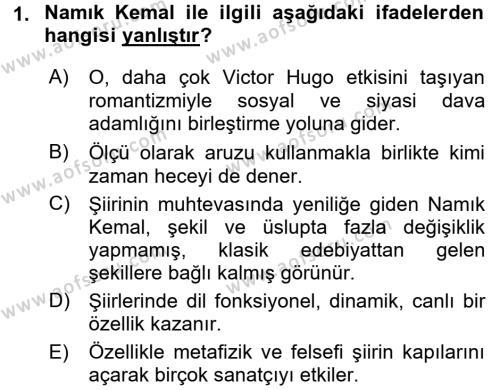 Tanzimat Dönemi Türk Edebiyatı 1 Dersi 2017 - 2018 Yılı (Final) Dönem Sonu Sınav Soruları 1. Soru
