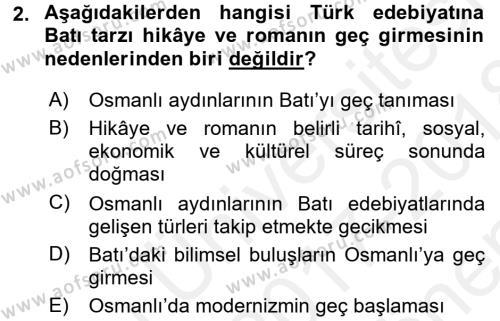 Tanzimat Dönemi Türk Edebiyatı 1 Dersi 2017 - 2018 Yılı (Final) Dönem Sonu Sınav Soruları 2. Soru