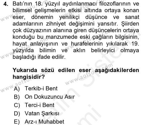 Tanzimat Dönemi Türk Edebiyatı 1 Dersi 2017 - 2018 Yılı (Final) Dönem Sonu Sınav Soruları 4. Soru