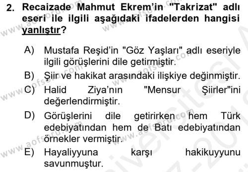 Tanzimat Dönemi Türk Edebiyatı 2 Dersi 2017 - 2018 Yılı (Vize) Ara Sınav Soruları 2. Soru