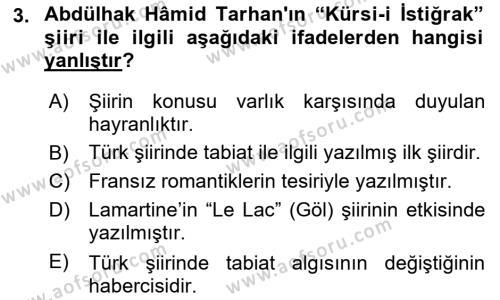 Tanzimat Dönemi Türk Edebiyatı 2 Dersi 2017 - 2018 Yılı (Vize) Ara Sınav Soruları 3. Soru