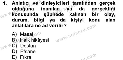 Türk Dili ve Edebiyatı Bölümü 3. Yarıyıl Halk Hikayeleri Dersi 2014 Yılı Güz Dönemi Ara Sınavı 1. Soru