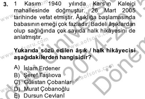 Halk Hikayeleri Dersi 2014 - 2015 Yılı (Final) Dönem Sonu Sınav Soruları 3. Soru