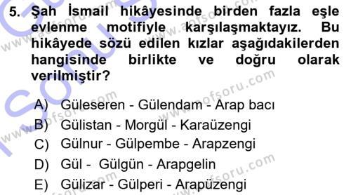 Türk Dili ve Edebiyatı Bölümü 3. Yarıyıl Halk Hikayeleri Dersi 2016 Yılı Güz Dönemi Dönem Sonu Sınavı 5. Soru