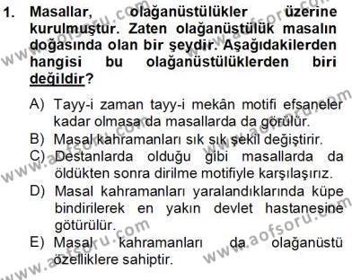 Türk Dili ve Edebiyatı Bölümü 4. Yarıyıl Halk Masalları Dersi 2013 Yılı Bahar Dönemi Dönem Sonu Sınavı 1. Soru